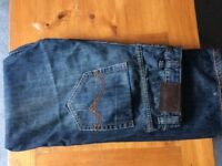 Designer YANÜK Blue Jeans, W38, Regular Leg with Leather Detail