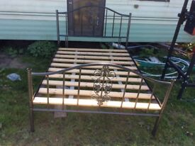 Double bed frame, metal with wooden slats