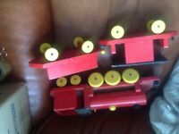 Vintage ESCOR wooden train & 2 carriages