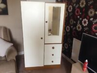 For sale is my small wardrobe with draws good condition