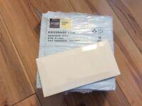 Homebase cream chamfer edge ceramic tiles - 10 boxes of 25 - 250 tiles in total