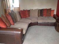 Large corner sofa leather arms and base fabric cushions