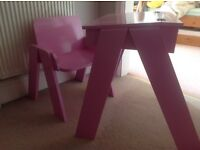 Wooden desk and chair - pink - handmade