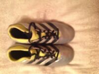 Sock boot style adidas silver and yellow boot size 2