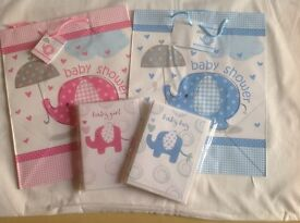 21Baby shower bags and 9 cards blue and pink for your baby shower party.