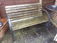 Wood & Metal Garden Bench