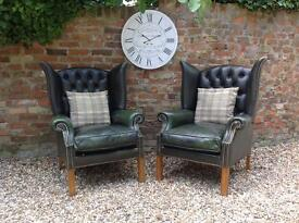 Vintage green Chesterfield wingback armchair . Pair available. Can deliver
