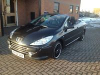 PEUGEOT 307CC CONVERTIBLE HDI SPORT(56) BLACK LEATHER TRIM,NICE MILES.
