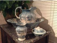 Furnivals Carlisle No 344223 Antique Rare Pitcher, Bowl, Vase and Soap Dish. Blue floral pattern.