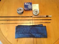 Shimano Compre 10 ft 6 aftm6-8 fly rod plus intrepid rimfly reel with spare spool & lines.