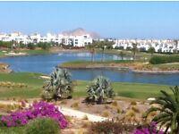 Spanish Holiday Beach & Golf Apt Murcia Sleeps 4 people 2 Bed 1 Bath Frontline Golf Self Catering