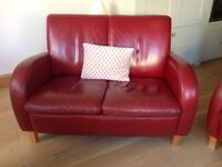 Red leather retro style 2 seater armchair and chair