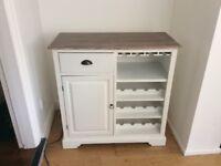 Shabby chic kitchen dresser and wine rack