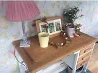 Solid oak dresser/ desk with solid oak chair rustic look