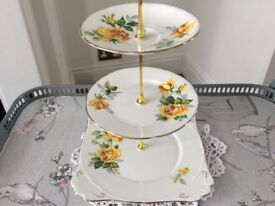 Royal Stafford Bone China 3 Tier Cake Stand. Yellow Floral.