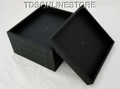 Lot Of 5 Black Plastic Stackable Jewelry Trays 8 By 7 Inch