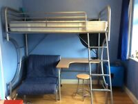 Single Metal Frame Cabin Bed With Desk Under And Independent Futon Chair