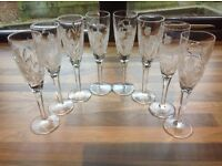 8 Stuart Crystal Cascade champagne glasses