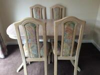 Limed oak table and chairs (extends)