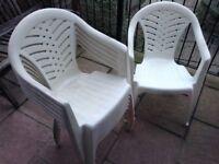 6 good quality plastic patio chairs