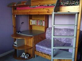 Stompa casa bed - high sleeper with sofa bed.