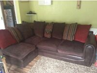 Corner sofa with foot stool and chair