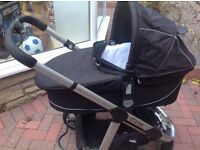 I candy apple travel system includes stroller, pram and maxi cosy car seat with adaptors.