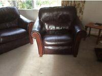 3 Piece Dark Brown Leather Suite Very Good Condition
