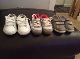 3 pairs children's shoes size 5. 1pair size 6 wellies size 6. Converse size 7