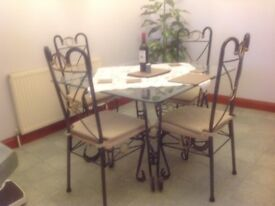GLASS DINING ROOM TABLE WITH 4 CHAIRS
