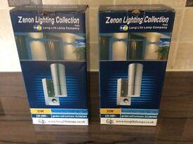 2 Outdoor PIR sensor up/down lighters, in stainless steel