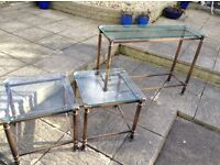 Glass and bronze/brass console and side table set