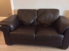 2 x 2 seater sofa brown Natuzzi leather and matching chair