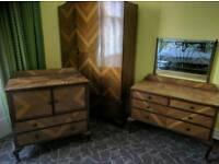 Art Deco Antique Retro Vintage Bedroom Suite Wardrobe Chest Dressing Table