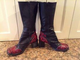 Vintage Ladies Black and Magenta Boots