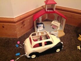 Sylvanian families Wedding chapel with vicar and wedding car