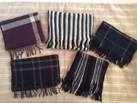Large Selection of Seven (7) Mens Boys Winter Wool Scarves