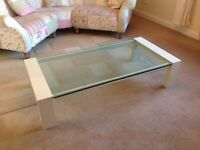 Coffee Table, Farrow&Ball painted, thick glass top, heavy, sturdy