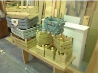 Crates for sale different sizes,ideal as they are or make great shabby chic project