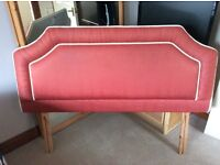 Quality double bed Headboard, colour red/pink with cream/white trim