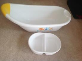 Baby bath with top and tail dish