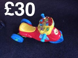 Kids toys all excellent codition teletubbies hoover, vtech motorbike and thomas the tank toys