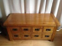 Solid oak double sided coffee table with top opening storage