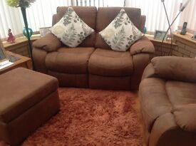 Two seater settee plus chair and box type foot stool,all seats are mechanical reclining