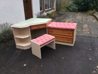 Dressing table, stool and matching chest of drawers