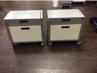 2 Grey & Cream Metal Filing Cabinets On Wheels