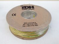 100M DRUM OF GREEN/WHITE EARTH ELECTRICAL CABLE, SINGLE CORE
