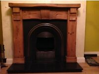Mexican pine fireplace surround, cast iron inset and marble hearth