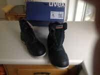 Size 9 Uvex black steel toe safety boots