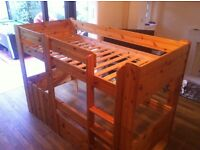 Stompa Solid Wood Kids High Sleeper Bunk Bed